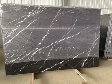High Hardness Nero Marquina Marble Slab , Natural Nero Black Marble Tile